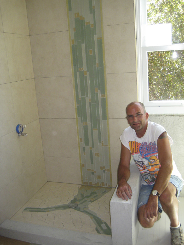 Custom Inlaid Tile Shower Waterfall